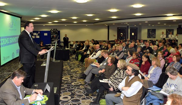 Cllr Greg Smith addresses the Crime Summit audience