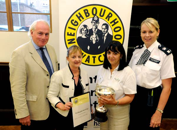 L-R: David Millar (H&F Neighbourhood Watch Chairman), Sarah Chambers, Claire Harris and Borough Commander Lucy D'Orsi